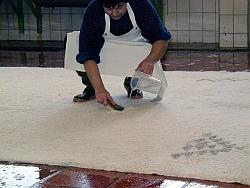 Teppich einweichen und Fleckenbehandlung.