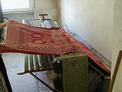 Teppich vorreinigen: Schmutz und Staub ausklopfen.
